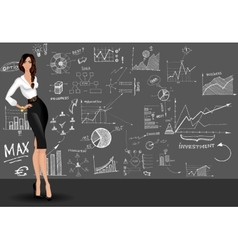 Business woman doodle background vector image