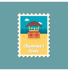 Cafe Bar bungalows on the beach stamp Vacation vector