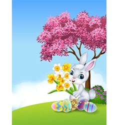 Cartoon bunny holding flower with colourful Easter vector