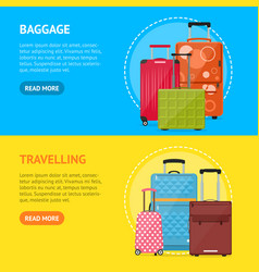 cartoon travel suitcase banner horizontal set vector image
