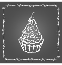 Chalk dessert with cream and cherry on top vector image vector image