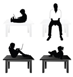 children and man siting on table vector image