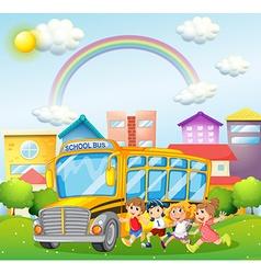 Children and school bus in park vector