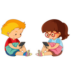 children playing mobile phone vector image