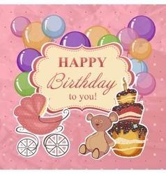Childrens greeting background with birthday vector image