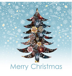 christmas card with decorative tree vector image