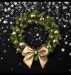Christmas wreath with golden bow vector