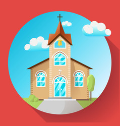 church building icon flat vector image