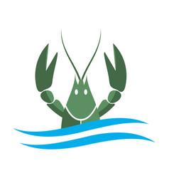 crayfish logo green river lobster langoustine vector image