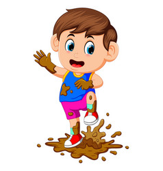 Cute boy playing in the mud vector