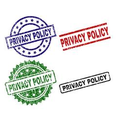 Damaged textured privacy policy stamp seals vector