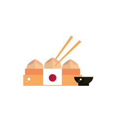 delicious chinese dumpling sauce food japan icon vector image