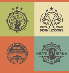Drum school or academy colored emblems vector