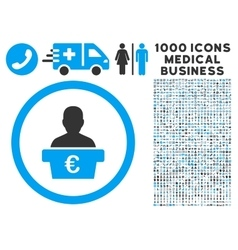 Euro Politician Icon with 1000 Medical Business vector image