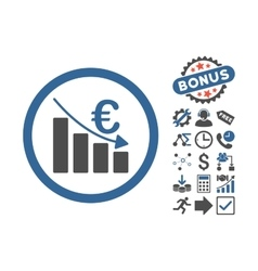 Euro Recession Flat Icon With Bonus vector image