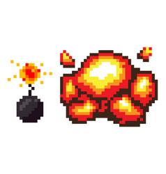 explosion bomb with fire pixelated icons set vector image