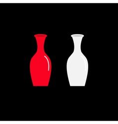 Feng Shui Vase icon set Ceramic Pottery Glass vector