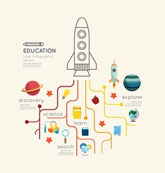 Flat line Infographic Education rocket Outline vector image vector image