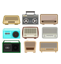 flat set of different retro radio and tape vector image