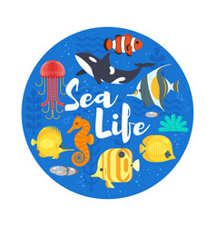 Flat style of coralreef fish and sea life vector