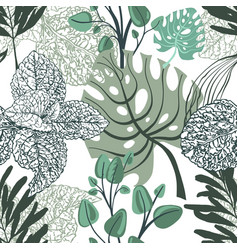 floral trendy seamless pattern tropical leaves vector image