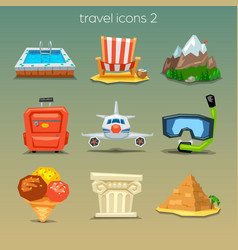 Funny travel icons-set 2 vector