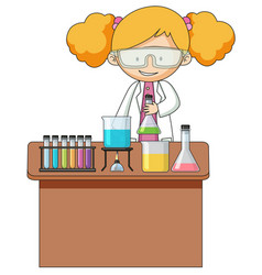Girl experiment in the laboratory vector