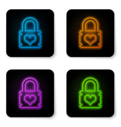 glowing neon padlock with heart icon isolated on vector image