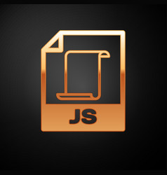 Gold js file document icon download js button vector
