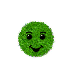 Green grass circle field 3d face smile smiley vector