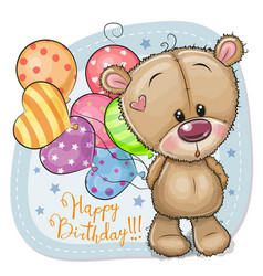 Greeting card teddy bear with balloons vector