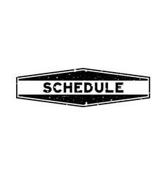 Grunge black schedule word hexagon rubber seal vector
