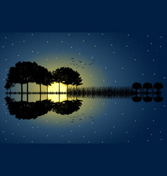 Guitar island moonlight vector