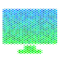 halftone blue-green computer display icon vector image