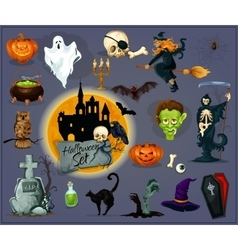 Halloween cartoon characters icons and elements vector