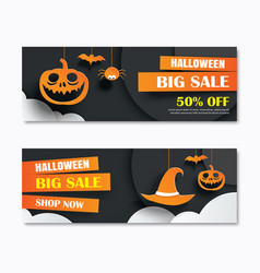 Halloween sale banner with dark moon paper art vector