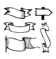 Hand drawn sketch ribbons vector