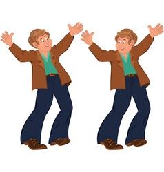 Happy cartoon man standing in blue pants happily vector