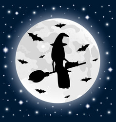 Happy halloween on a moonlight background witch vector