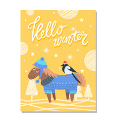 happy holiday greeting card with donkey horse bird vector image