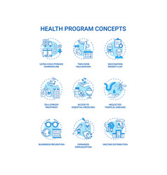 health program concept icons set vector image