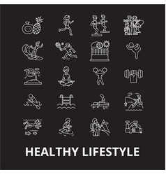 healthy lifestyle editable line icons set vector image