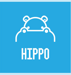 hippo head logo design template vector image