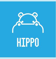 hippo head logo design template vector image