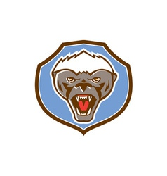Honey Badger Mascot Head Shield Retro vector image