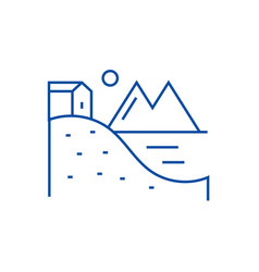 house on hills with lake and mountains line icon vector image