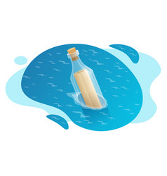 isometric bottle with a message in water vector image