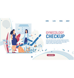 Landing page offering gynecology checkup for women vector