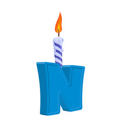 Letter n birthday font letter and candle vector
