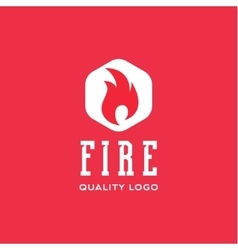 Logo sign flame fire quality flat style icon vector image